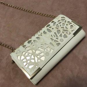 2/$45 CALL IT SPRING Laser Cut Cream Gold Clutch